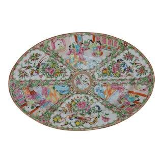 Antique Chinese Rose Medallion Oval Platter, 1840