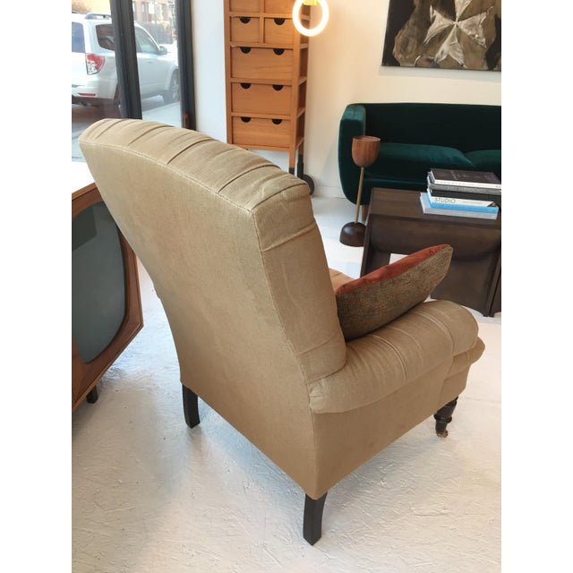 Contemporary Vintage Linen Button Tufted Armchair by Nate Berkus For Sale - Image 3 of 5