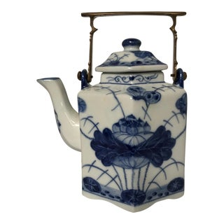 Chinese Blue & White Porcelain Tea Pot