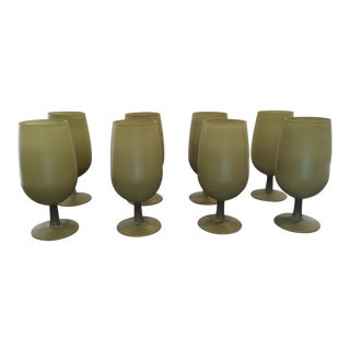 1950s Frosted Moss Green Stem Glasses Goblets - Set of 8 For Sale