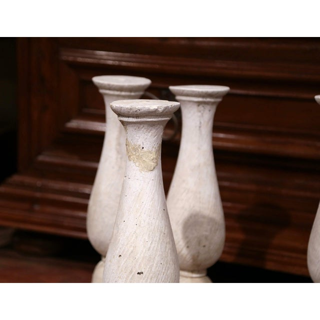 Stone Set of Four French 19th Century Patinated Carved Stone Balusters For Sale - Image 7 of 9