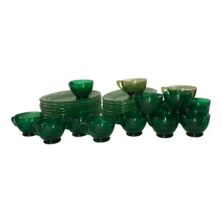 1970s Vintage Indiana Glass Green Tiara Snack Plate & Cups - Set of 32 For Sale