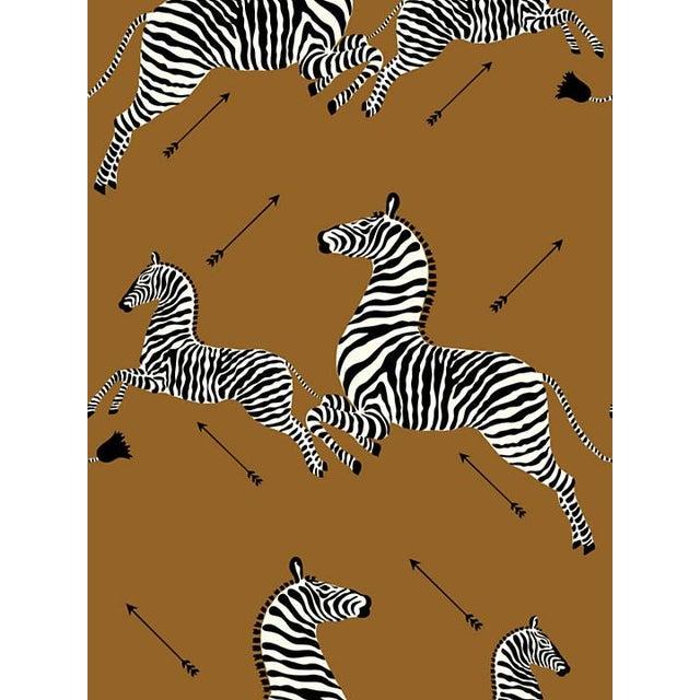 Safari Scalamandre Zebras, Safari Brown Wallpaper For Sale - Image 3 of 3