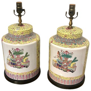 Pair of Republic Chinese Export Yellow Famille Verte Lamps For Sale