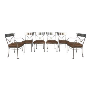 Italianate Steel & Brass Dining Chairs by Design Institute of America (DIA)-Set of 6 For Sale