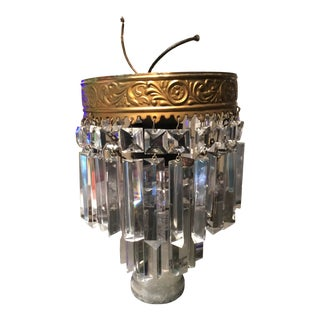 Chandelier Cake Tier Triangular Faceted Glass Prisms Flush Mount For Sale