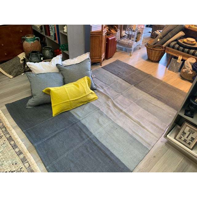 Late 20th Century Vintage Blue Ombre Turkish Hemp Rug-5′6″ × 7′10″ For Sale - Image 9 of 11