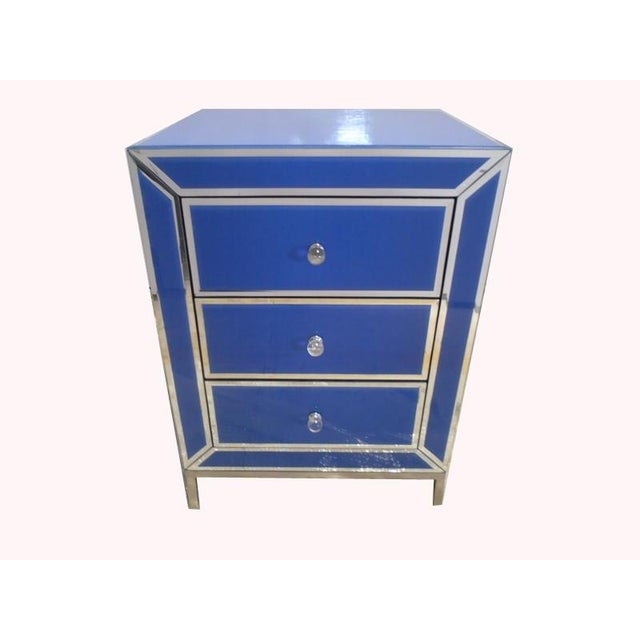 Contemporary Blue Bedside End Table - Image 2 of 7
