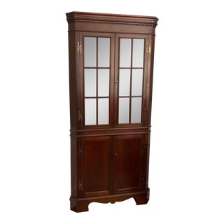 Craftique Chippendale Style Solid Mahogany Corner Cabinet For Sale