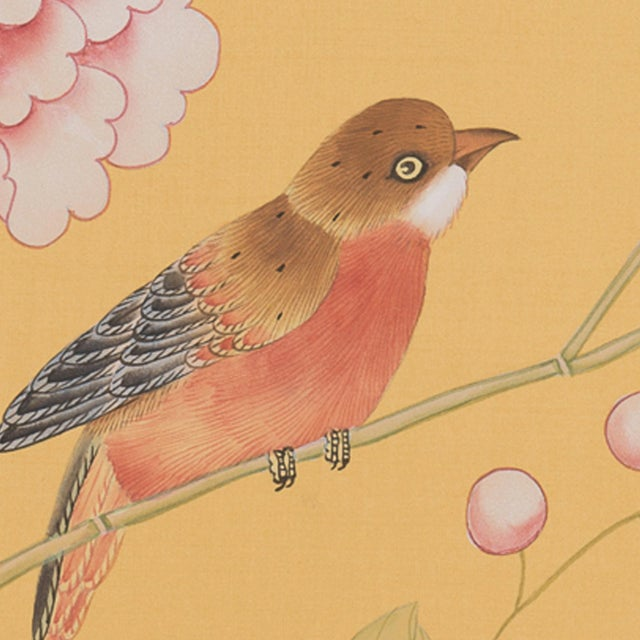 Asian Red-Breasted Bird on Bamboo Branch Painting For Sale - Image 3 of 6