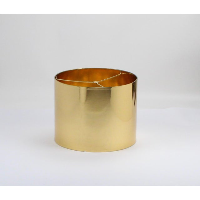 Small High Gloss Gold Drum Lampshade For Sale - Image 9 of 9