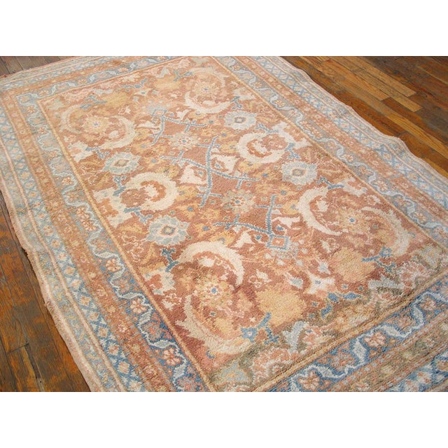 """1910s Traditional Blue and Peach Cotton Rug - 4'2""""x6'8"""" For Sale In New York - Image 6 of 8"""