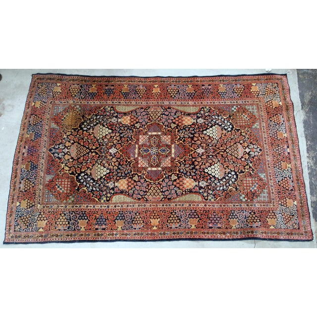 Textile 1880s, Handmade Antique Persian Dabir Kashan Rug 4.1' X 6.2' For Sale - Image 7 of 12