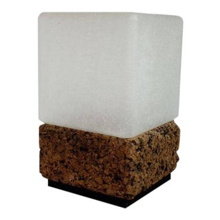 1970s Vintage Modern Cube Cork & Glass Shade Table Lamp For Sale