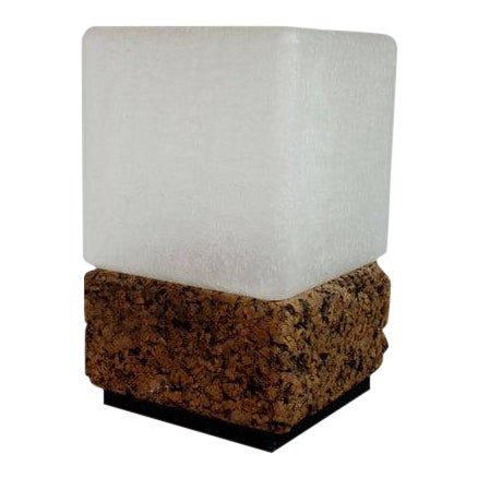 Final Markdown- 1970s Vintage Modern Cube Cork & Glass Shade Table Lamp For Sale