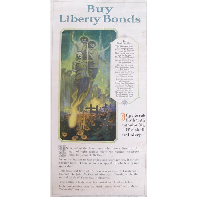 1910s 1918 Original Wwi Poster, We Shall Not Sleep, Liberty Bonds Advertisement, Flanders Fields Poem For Sale - Image 5 of 5