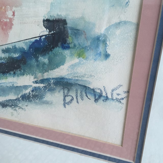 Mid Century Modern Alfred Birdsey Abstract Modernist Ocean Seascape Watercolor Painting Signed - Image 5 of 11