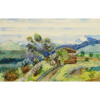 Alfred Siegris, Watercolor Landscape - Swiss Cabin For Sale