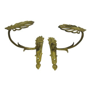 French Antique Gilt Bronze Curtain Tiebacks - a Pair