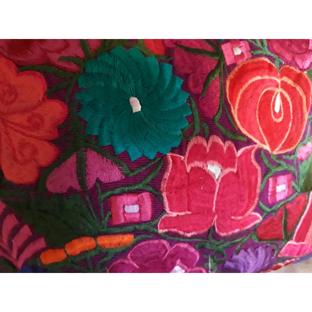 Traditional Mexican Handmade Embroidered Pillow Cover For Sale - Image 3 of 6