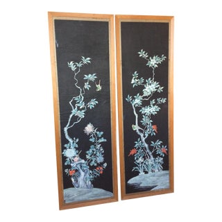 Hand Painted Chinese Wallpaper Panels - A Pair For Sale