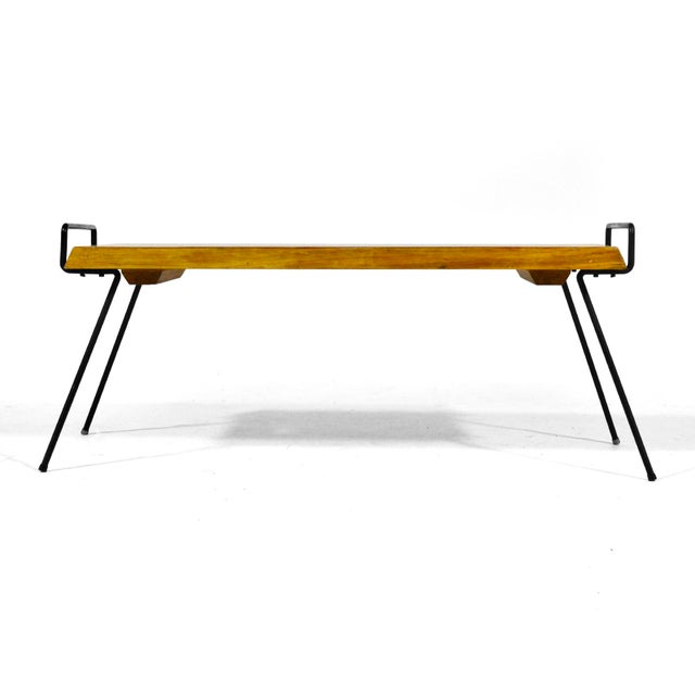 Iron Wood Bench / Table With Iron Legs For Sale - Image 7 of 11