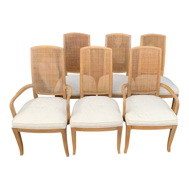 Mid-Century Tall Cane Back Dining Chairs - Set of 6 For Sale