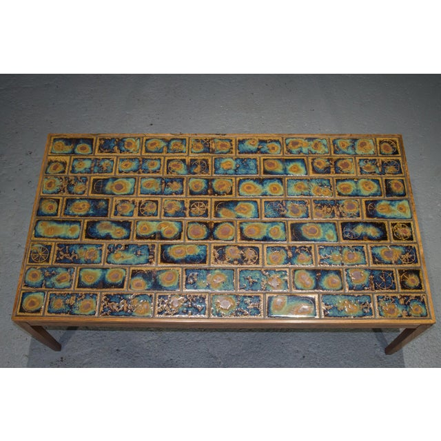 1960s Danish Modern Rosewood and Tile Coffee Table For Sale - Image 9 of 10