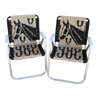Macrame Folding Chairs - a Pair For Sale