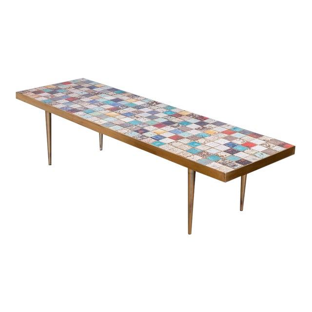 California Modern Tile-Top Brass Coffee Table For Sale