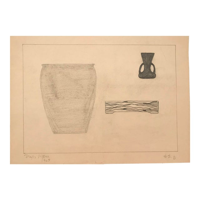 1963 Mid-Century Modern Drawing by Phyllis Myrick For Sale