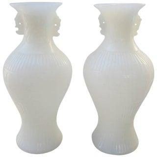 Pair of White Peking Glass Vases For Sale