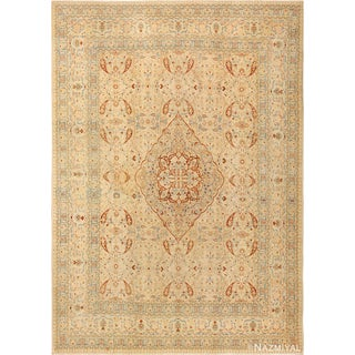 Antique Tabriz Haji Jalili Persian Ivory Background Rug - 9′2″ × 12′9″ For Sale