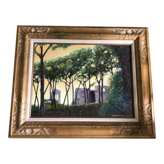 Italian Woods Colosseum Original Signed Oil Painting For Sale