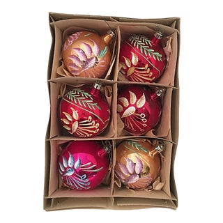Fancy Hand Painted Glass Ornaments S/6 For Sale