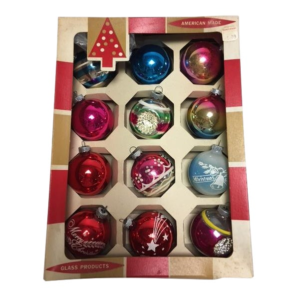 Vintage Glass Christmas Ornaments in Box - Image 1 of 3