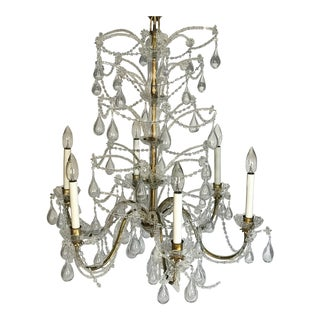 1950s Hollywood Regency Macaroni Crystal 6 Arm Chandleier For Sale