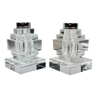 Mid-Century Modern Clear Glass Blocks Salt & Pepper Shakers For Sale