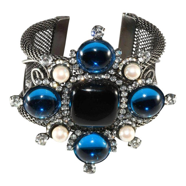 Lawrence Vrba Rhinestone Statement Cuff Bracelet Maltese Cross Blue Black For Sale
