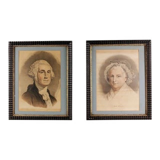 Late 19th Century Antique Currier & Ives George and Martha Washington Prints - A Pair For Sale