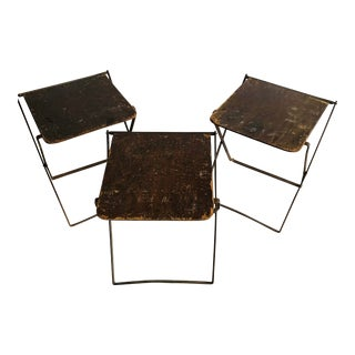 Vintage Mid Century Metal Folding Camp Chair Stools - Set 3 For Sale