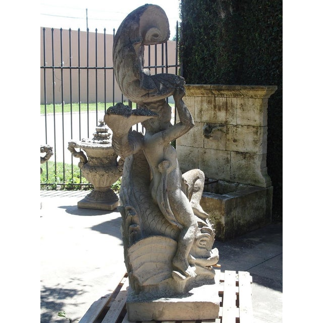 Early 21st Century Cast Stone Putto and Dolphin Fountain Element Statue, France For Sale - Image 5 of 13