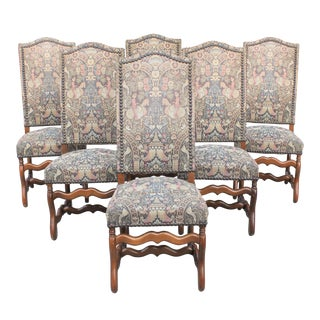 French Louis XIII Style Os De Mouton Dining Chairs - Set of 6