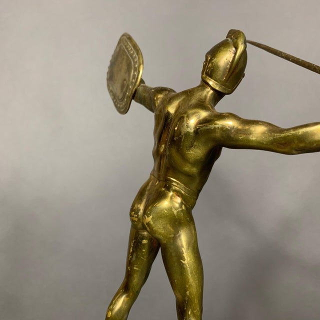 Gold F. Thierman Bronze Gladiator Sculpture C.1900, Germany For Sale - Image 8 of 10