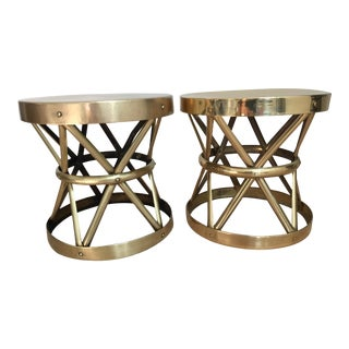 1970's Brass Drum Stool -A Pair For Sale