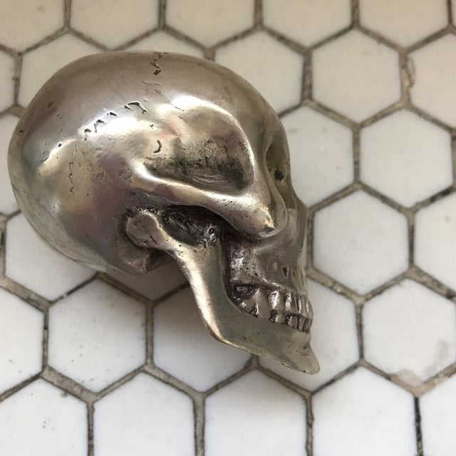 Vintage Silver Metal Skull For Sale - Image 9 of 12