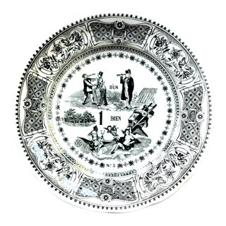 Vintage Gien French Black and White Transferware Rebus Riddle Plate For Sale