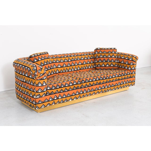 Rounded Barrel Back Brass Platform Sofa Reupholstered in African Mud Cloth For Sale - Image 11 of 11