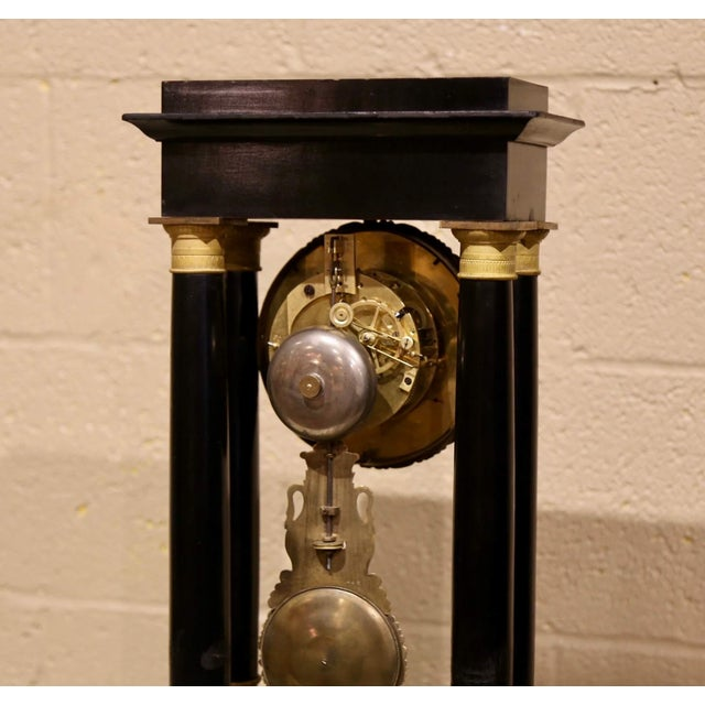 19th Century French Empire Portico Mantel Clock in Original Glass Dome For Sale - Image 10 of 12