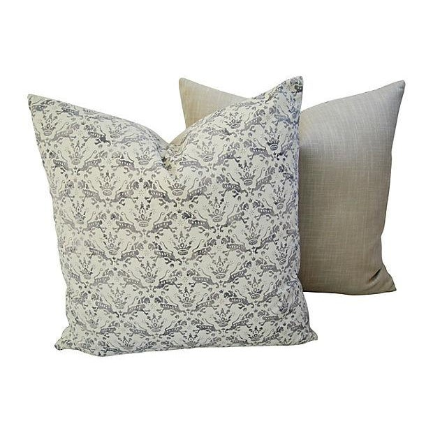 Large custom-made pillows in vintage/never used Brunschwig & Fils Venezia 'Imperial' hand-stamped fabric in a taupe, gray...